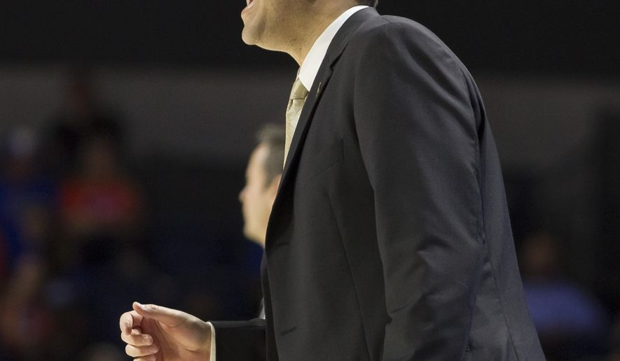 Vanderbilt head coach Bryce Drew yells to his team during the first half of an NCAA college basketball game against Florida in Gainesville, Fla., Saturday, Jan. 21, 2017. (AP Photo/Ron Irby)