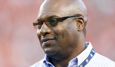 Former MLB and NFL player Bo Jackson, watches Auburn and Clemson practice before an NCAA college football game against Auburn, Saturday, Sept. 3, 2016, in Auburn, Ala. (AP Photo/Brynn Anderson)