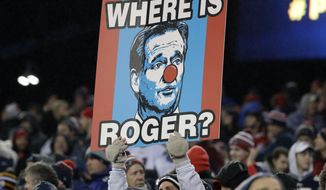 A New England Patriots fan holds a sign referring to NFL commissioner Roger Goodell during the first half of the AFC championship NFL football game between the Patriots and the Pittsburgh Steelers, Sunday, Jan. 22, 2017, in Foxborough, Mass. (AP Photo/Matt Slocum)
