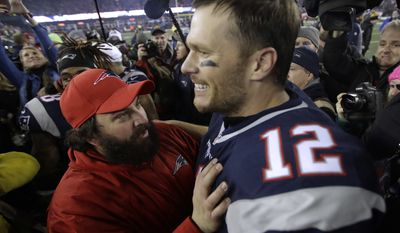 New England Patriots defensive coordinator Matt Patricia, left, celebrates with quarterback Tom Brady after beating the Pittsburgh Steelers 36-17 in the AFC championship NFL football game, Sunday, Jan. 22, 2017, in Foxborough, Mass. (AP Photo/Charles Krupa)