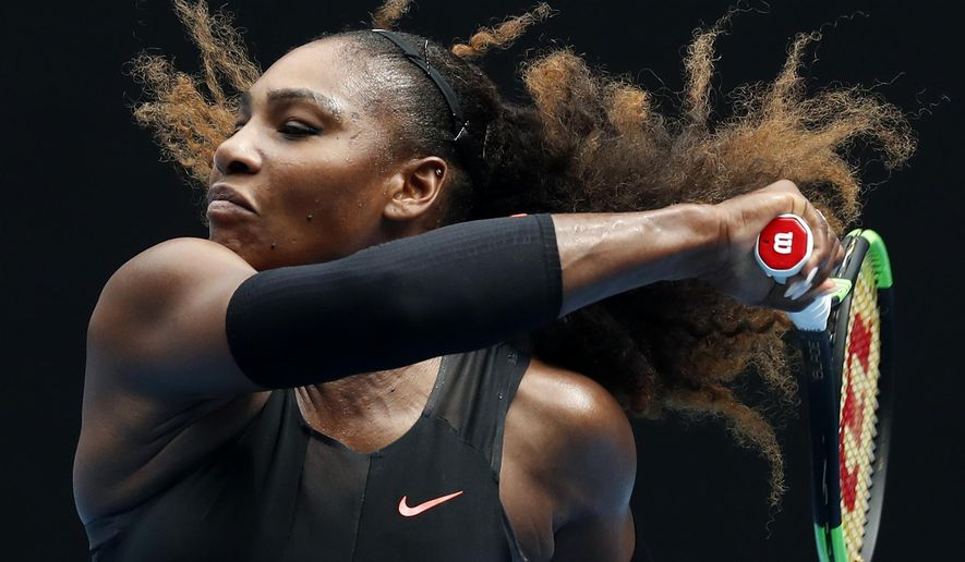 United States' Serena Williams makes a forehand return to Barbora Strycova of the Czech Republic during their fourth round match at the Australian Open tennis championships in Melbourne, Australia, Monday, Jan. 23, 2017. (AP Photo/Kin Cheung)