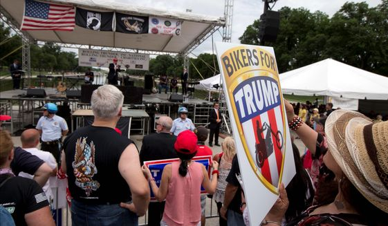 Supporters and bikers at a Rolling Thunder rally on the National Mall listen to GOP presidential candidate Donald Trump speak. The organization offered an invitation for candidates to speak, but only Mr. Trump accepted.