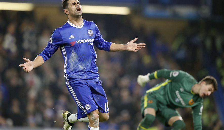 Chelsea's Diego Costa reacts to a disallowed goal during the English Premier League soccer match between Chelsea and Hull City at Stamford Bridge stadium in London, Sunday, Jan. 22, 2017. (AP Photo/Frank Augstein)