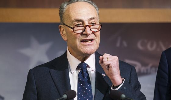 In this Jan. 5, 2017, file photo, Senate Minority Leader Charles Schumer of N.Y. speaks during a news conference on Capitol Hill in Washington. The inauguration of Donald Trump leaves Democrats facing a stark power deficit, not only in Washington but in states around the country. Republicans control the White House, Congress, almost two-thirds of statehouses and 32 legislatures. (AP Photo/Zach Gibson, File)