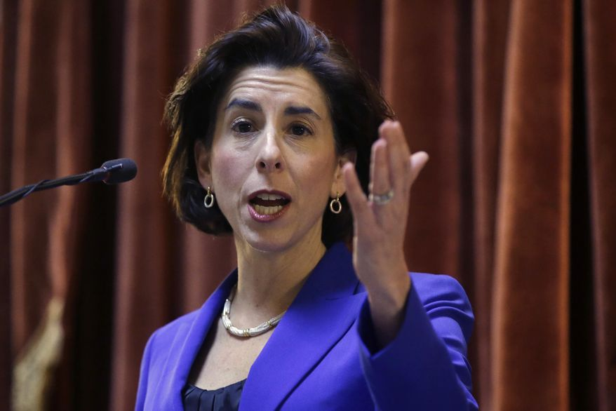 FILE - In this Tuesday, Jan. 17, 2017, file photo, Rhode Island Democratic Gov. Gina Raimondo delivers her State of the State address to lawmakers and guests in the House Chamber at the Statehouse, in Providence, R.I. Raimondo proposed giving in-state residents two years of free tuition at the state's public colleges. (AP Photo/Steven Senne, File)