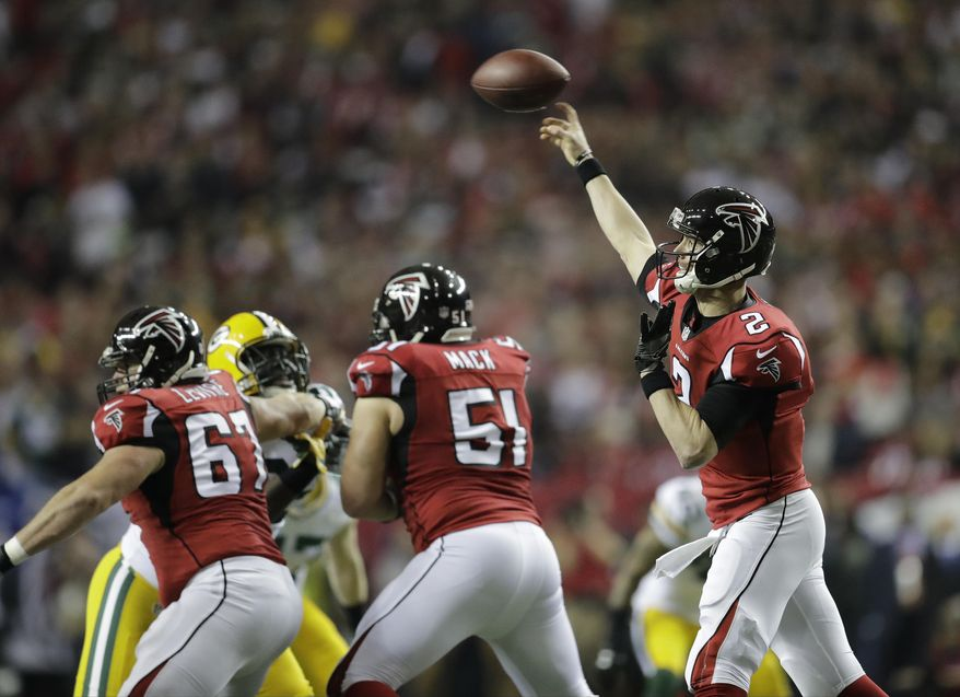 Atlanta Falcons' Matt Ryan throws during the first half of the NFL football NFC championship game against the Green Bay Packers, Sunday, Jan. 22, 2017, in Atlanta. (AP Photo/David Goldman)