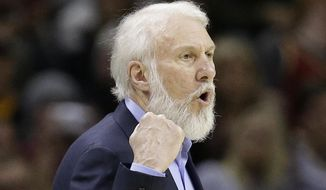 San Antonio Spurs head coach Gregg Popovich yells to players in the first half of an NBA basketball game against the Cleveland Cavaliers, Saturday, Jan. 21, 2017, in Cleveland. San Antonio's long-time coach, who has been highly critical of Donald Trump in the past, went on a lengthy rant about the newly sworn-in president on Saturday night, calling him a bully and saying he hopes he can change while in office. (AP Photo/Tony Dejak)
