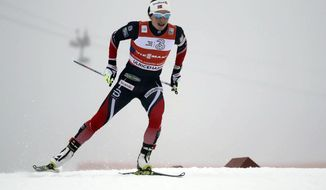 Norway's Marit Bjoergen skis to win the woman's relay 4x5 km competition at the FIS Cross Country skiing World Cup event in Ulricehamn, Sweden, Sunday, Jan. 22 2017. (Adam Ihse/TT News Agency via AP)