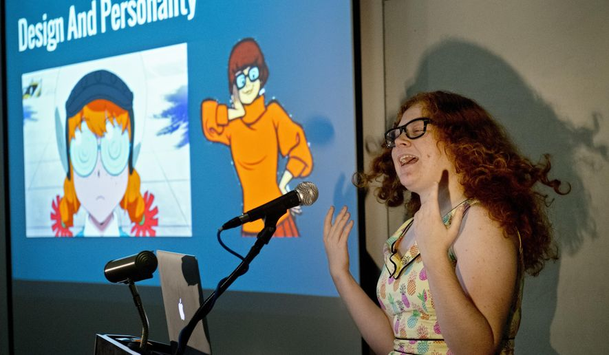 In this Friday, Dec. 9, 2016, photo, Madison Stubbs speaks during the Animated Women symposium at California Institute of the Arts in Valencia, Calif. The California Institute of the Arts was created partly by Walt Disney's desire to bring more top-flight animators into the profession. And it has during its 47 years, though for a long time almost all were men. Now, nearly three-quarters of CalArts' more than 250 animation students are women, and there's a new goal: Ensure that when they land jobs, they get to draw female characters reflective of the real world and not just the nerds, sex bombs, tomboys or ugly villains who proliferate now. (AP Photo/Mark J. Terrill)