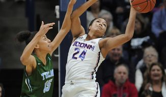 Connecticut's Napheesa Collier, right, reaches for a rebound over Tulane's TeneThompson, left, in the first half of an NCAA college basketball game, Sunday, Jan. 22, 2017, in Storrs, Conn. (AP Photo/Jessica Hill)