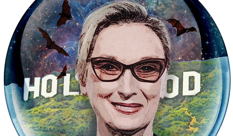Meryl Streep trapped in a liberal Hollywood bubble. Illustration by Greg Groesch/The Washington Times