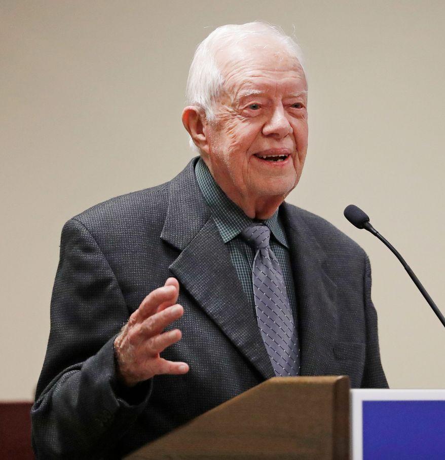 Former President Jimmy Carter speaks at a Baptist conference in Atlanta, Thursday, Sept. 15, 2016. (AP Photo/David Goldman)
