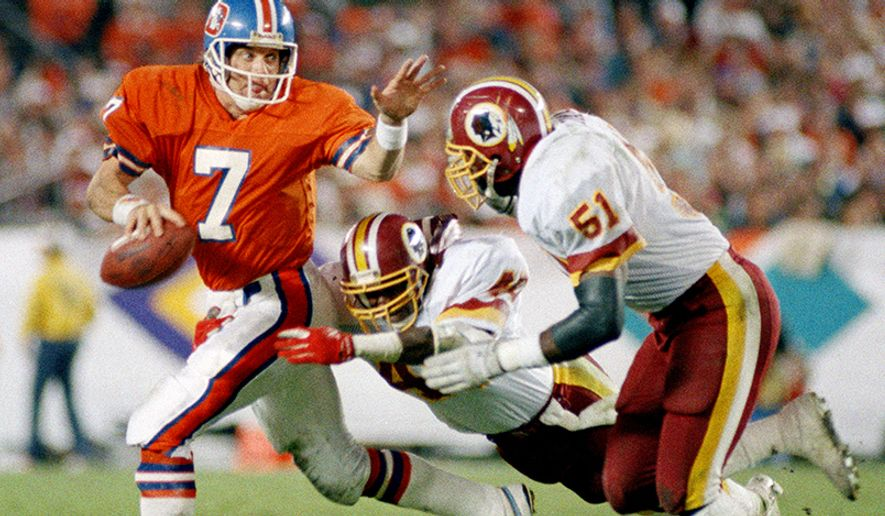 Washington Redskins - Super Bowl championships (3) 1982(XVII), 1987(XXII), 1991(XXVI) Denver Broncos quarterback John Elway (7) scrambles under pressure from Washington Redskins Dexter Manley and Monte Coleman (51) in Super Bowl XXII, Jan. 31, 1988, in San Diego. Elway was sacked five times and threw three interceptions as the Broncos lost 42-10, their second consecutive Super Bowl loss. (AP Photo)