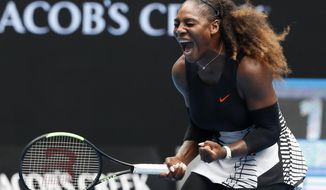 United States' Serena Williams celebrates after winning the first set against Barbora Strycova of the Czech Republic during their fourth round match at the Australian Open tennis championships in Melbourne, Australia, Monday, Jan. 23, 2017. (AP Photo/Kin Cheung)