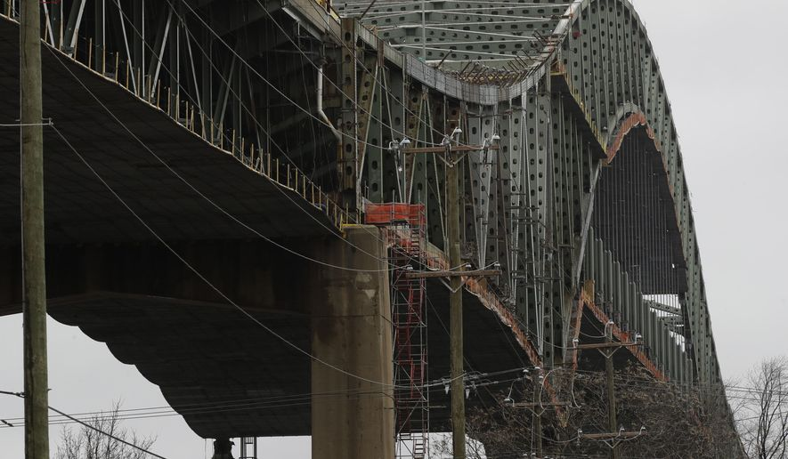 """This photo shows the Delaware River Bridge in Bristol, Pa., Monday, Jan. 23, 2017. Tens of thousands of drivers are being told to expect """"extreme"""" delays for weeks because the bridge connecting Pennsylvania and New Jersey had to be shut down over a cracked steel truss. (AP Photo/Matt Rourke)"""