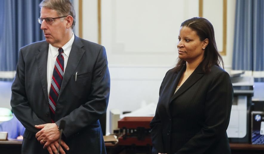 Chief Assistant Prosecutors Seth Tieger and Stacey Graffenreid meet with Hamilton County Judge Leslie Ghiz concerning the retrial of a former University of Cincinnati police officer Ray Tensing in the shooting death of motorist Sam DuBose, Monday, Jan. 23, 2017, in Cincinnati. Ghiz met with attorneys Monday in the Ray Tensing case and told reporters afterward that she wants to make sure that a jury can be seated in Hamilton County. (AP Photo/John Minchillo)