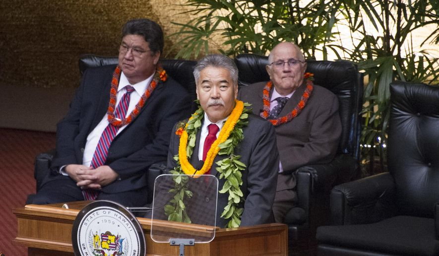 Hawaii Gov. David Ige delivers his State of State address on Monday, Jan. 23, 2017, in Honolulu. Ige talked to about the importance of education, housing and diversifying the economy in his annual address Monday. (Craig T. Kojima/The Star-Advertiser via AP)