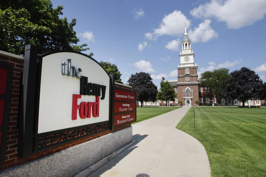 In this July 29, 2010 photo, The Henry Ford Museum clock tower is shown in Dearborn, Mich. Starting Monday, Jan. 23, 2017, the museum will be known as the Henry Ford Museum of American Innovation. The museum in suburban Detroit is changing its name to better convey the museum's collection and its core focus on innovation. (AP Photo/Carlos Osorio)