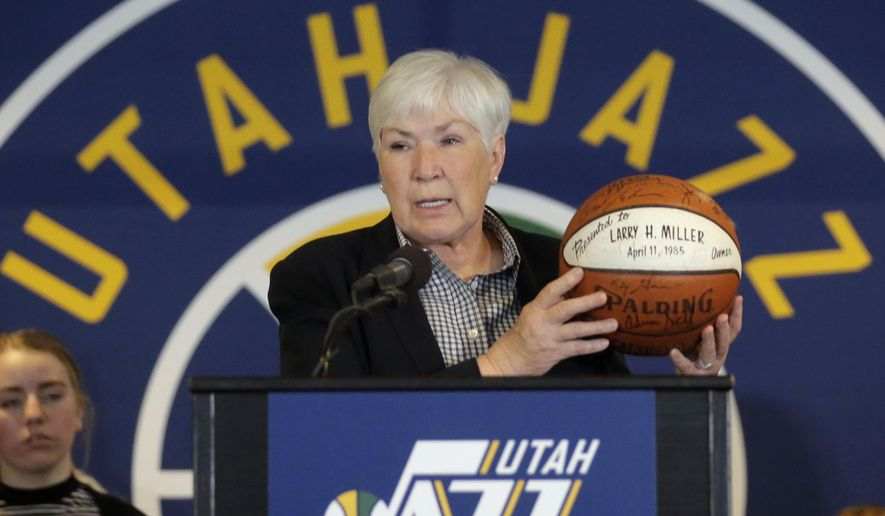 Gail Miller, owner of the the Larry H. Miller Group of Companies, announces she will transfer ownership of the Utah Jazz and Vivint Smart Home Arena to a Legacy Trust in order to keep the franchise in Utah for generations Monday, Jan. 23, 2017, in Salt Lake City. (AP Photo/Rick Bowmer)