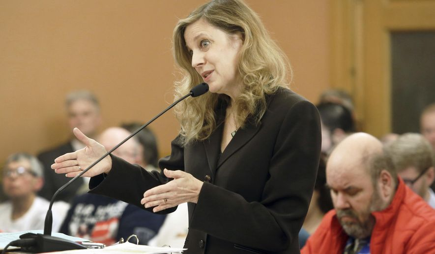 """Susan Mosier, secretary of the Kansas Department of Health and Environment, speaks to the Senate Public Health and Welfare Committee Monday, Jan. 23, 2017, responding to a report from the Centers for Medicare and Medicaid Services that Kansas' Medicaid program is """"substantively out of compliance"""" with U.S. law. (Thad Allton/Topeka Capital-Journal via AP)"""