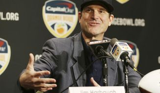 """FILE - This Dec. 29, 2016 file photo shows Michigan head coach Jim Harbaugh speaking during a news conference in Fort Lauderdale, Fla. Before the NCAA's ban of spring break sports trips goes into effect, Harbaugh is taking his team to Rome, Italy. The Wolverines will hold three spring practices at the training facility of soccer club AS Roma. Michigan did not announce on Monday, Jan. 23, 2017 the exact dates of the trip, but said in a release it would take place """"after finals toward the end of winter semester in April."""" (AP Photo/Marta Lavandier, file)"""