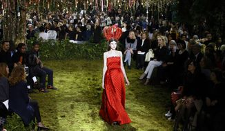 A model wears a creation for Christian Dior's Haute Couture Spring-Summer 2017 fashion collection presented in Paris, Monday, Jan. 23, 2017. (AP Photo/Francois Mori)