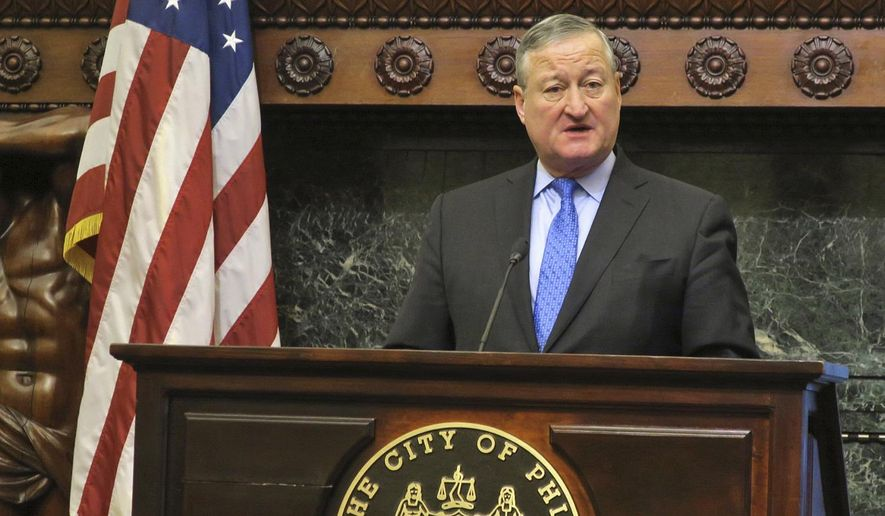 Philadelphia Mayor Jim Kenney discusses a report on racism in the city's Gayborhood on Monday, Jan. 23, 2017, at City Hall in Philadelphia. The Philadelphia Commission on Human Relations recommended Monday that bars and nonprofit organizations in Philadelphia's gay neighborhood undergo training for racial bias and hire more diverse staff, after a new city report found women, minorities and transgender people have felt unwelcome and unsafe in the Gayborhood for decades. (AP Photo/Errin Haines Whack)