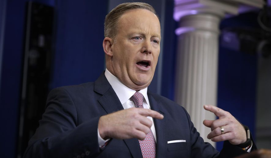 White House press Secretary Sean Spicer speaks during the daily White House briefing, Monday, Jan. 23, 2017, in the briefing room of the White House in Washington. (AP Photo/Evan Vucci)