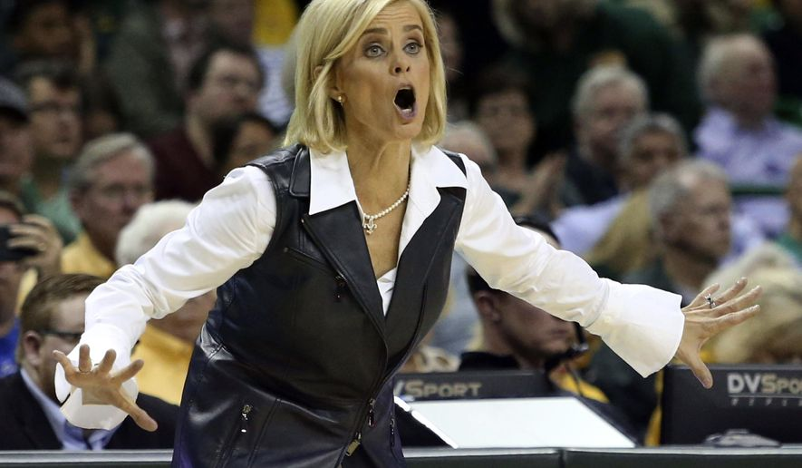 Baylor head coach Kim Mulkey reacts to a call in the second half of an NCAA college basketball game against West Virginia, Saturday, Jan. 21, 2017, in Waco, Texas. (AP Photo/Jerry Larson)