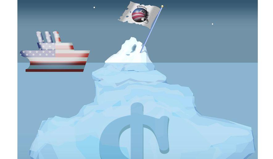 Illustration on hidden dangers of Obama's spending legacy by Alexander Hunter/The Washington Times