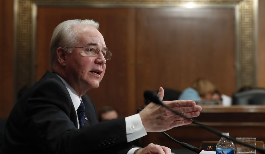 Health and Human Services Secretary-designate, Rep. Tom Price, R-Ga. testifies on Capitol Hill in Washington, Wednesday, Jan. 18, 2017, at his confirmation hearing before the Senate Health, Education, Labor and Pensions Committee. (AP Photo/Carolyn Kaster)