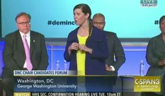 """Sally Boynton Brown, Idaho Democratic Party executive director, tells a crowd at George Washington University on Monday, Jan. 24, 2017, that her job is to make white people realize they have """"privilege."""" (C-SPAN3)"""