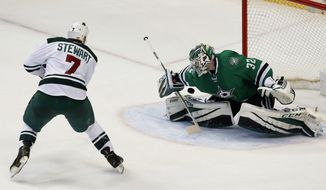 Minnesota Wild right wing Chris Stewart (7) scores a goal against Dallas Stars' Kari Lehtonen (32), of Finland, during a shootout beating the Wild, 3-2, in an NHL hockey game in Dallas, Tuesday Jan. 24, 2017. (AP Photo/Tony Gutierrez)