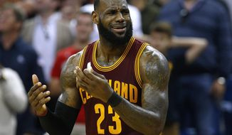 Cleveland Cavaliers forward LeBron James (23) reacts during the second half of an NBA basketball game against the New Orleans Pelicans Monday, Jan. 23, 2017, in New Orleans. The Pelicans won 124-122.(AP Photo/Jonathan Bachman)