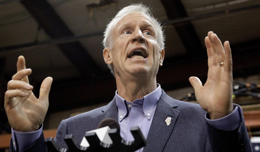 FILE - In this Nov. 16, 2016, file photo, Illinois Gov. Bruce Rauner speaks to reporters in Springfield, Ill. The Illinois Senate is putting the brakes on a compromise budget plan, but leaders say they still want to see it on track for a floor vote, Wednesday, Jan. 25, 2017, in the nation's longest budget deadlock in decades. Rauner will give his State of the State address also on Wednesday. (AP Photo/Seth Perlman, File)