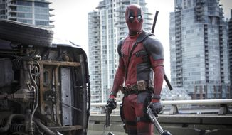 "This image released by Twentieth Century Fox shows Ryan Reyonlds in a scene from the film, ""Deadpool."" The popular film failed to receive an Oscar nomination on Tuesday, Jan. 24, 2017. (Joe Lederer/Twentieth Century Fox Film Corp. via AP) ** FILE **"