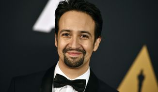 """FILE - In this Nov. 12, 2016 file photo, Lin-Manuel Miranda arrives at the 2016 Governors Awards in Los Angeles. Miranda was nominated for an Oscar for best original song for """"How Far I'll Go,"""" from the film """"Moana"""" on Tuesday, Jan. 24, 2017, for the film. The 89th Academy Awards will take place on Feb. 26. (Photo by Jordan Strauss/Invision/AP, File)"""