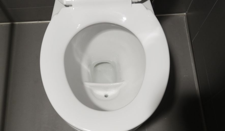 This photo shows a special toilet in a women's stall at the University of Michigan engineering building Tuesday, Jan. 24, 2017, in Ann Arbor, Mich. The toilet which diverts urine and solid waste is part of a multi-state project researching the conversion of human urine into fertilizer. (AP Photo/Carlos Osorio)