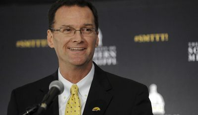 Southern Mississippi's new athletic director Jon Gilbert speaks at a press conference in the Jim and Thomas Duff Athletic Center on Tuesday, Jan. 24, 2017, in Hattiesburg, Miss. (Susan Broadbridge/Hattiesburg American via AP)