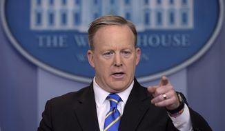 White House press secretary Sean Spicer calls on a reporter during the daily briefing at the White House in Washington, Tuesday, Jan. 24, 2017. Spicer answered questions about the Dakota Pipeline, infrastructure, jobs and other topics. (AP Photo/Susan Walsh)