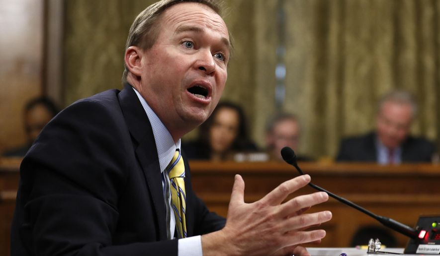 Budget Director-designate Rep. Mick Mulvaney, R-S.C., testifies on Capitol Hill in Washington, Tuesday, Jan. 24, 2017, at his confirmation hearing before the Senate Budget Committee. (AP Photo/Carolyn Kaster)