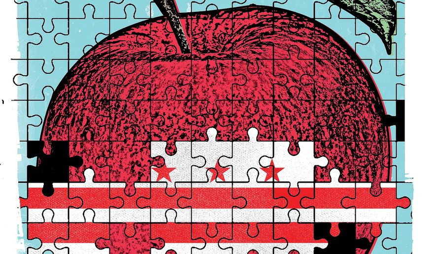Illustration on the success of D.C. school choice by Linas Garsys/The Washington Times