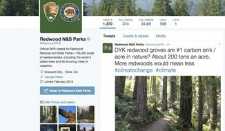 This photo shows a Twitter post from the National Park Service's Redwoods National Park account. The National Park Service employees' Twitter campaign against President Donald Trump has spread to other parks. A day after three climate-related tweets sent out by Badlands National Park were deleted, other park accounts have sent out tweets. This one, by Redwoods National Park in California, notes that redwood groves are nature's No. 1 carbon sink, which capture greenhouse gas emissions that contribute to global warming. A park service spokesman declined to comment on Jan. 25. (National Park Service via AP)