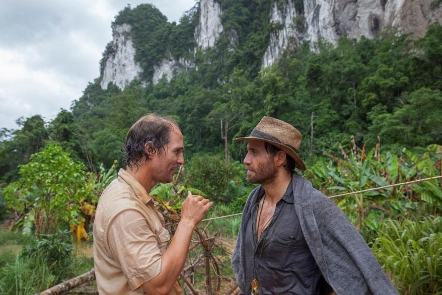 """This image released by The Weinstein Company shows Matthew McConaughey, left, and Edgar Ramirez in a scene from, """"Gold."""" (Patrick Brown/The Weinstein Company via AP)"""