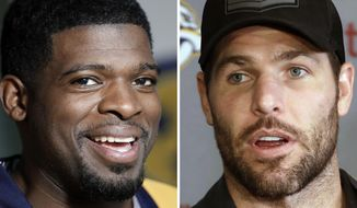 FILE - At left is a July 18, 2016, file photo showing Nashville Predators NHL hockey player P.K. Subban. At right is Mike Fisher, also of the Predators team. The Predators have stepped up to help stop violence against women with a new ad featuring All-Star P.K. Subban and captain Mike Fisher, and money will go from Thursday night's game against Columbus to support the Nashville-area program. (AP Photo/File)