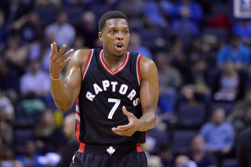Toronto Raptors guard Kyle Lowry (7) reacts to a referee's call in the first half of an NBA basketball game against the Memphis Grizzlies, Wednesday, Jan. 25, 2017, in Memphis, Tenn. (AP Photo/Brandon Dill)