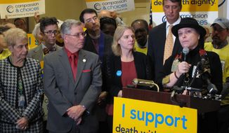 Alexa Fraser, right, whose father shot himself to death in 2014 in response to advancing Parkinson's disease, speaks during a news conference Wednesday, Jan. 25, 2017,  in Annapolis, Md., in favor of legislation to allow terminally ill patients to end their own lives by self-ingesting drugs prescribed by a doctor. Supporters hope a neutral position adopted on the issue by the Maryland State Medical Society this fall will help boost support for the bill this year. (AP Photo/Brian Witte)
