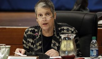 University of California President Janet Napolitano speaks during a University of California Board of Regents meeting Wednesday, Jan. 25, 2017, in San Francisco. The University of California's governing board opened a two-day meeting where the key issue is a tuition hike proposed by Napolitano, who recently was hospitalized for side-effects from cancer treatment. (AP Photo/Marcio Jose Sanchez)