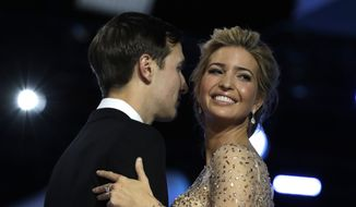 In this Friday, Jan. 20, 2017, file photo, Ivanka Trump and her husband Jared Kushner dance at the Freedom Ball, in Washington. I (AP Photo/Evan Vucci, File)