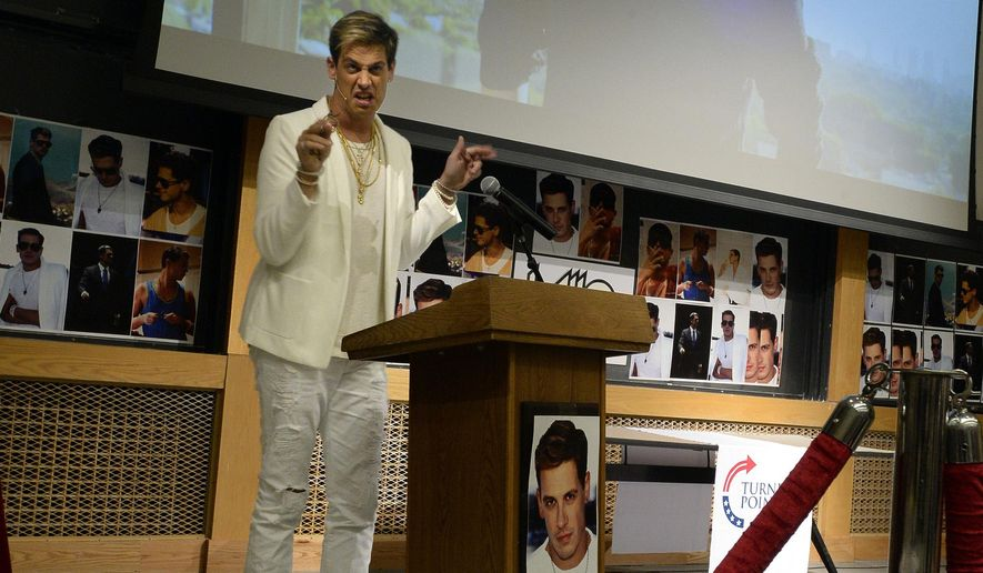 Milo Yiannopoulos speaks on campus in the Mathematics building at the University of Colorado in Boulder, Colo., Wednesday, Jan. 25, 2017. Yiannopoulos is an editor at the alt-right website Breitbart News. The alt-right is an offshoot of conservatism mixing racism, white nationalism and populism. (Jeremy Papasso/Daily Camera via AP)